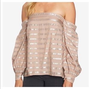 1.State Pink Shimmery Off Shoulders Top